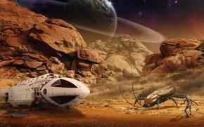 Обои камни, фантастика, насекомое, человек, пилот, планета, астронавт, летательный аппарат, борьба, космос, скалы, чужая планета, пустыня, ...