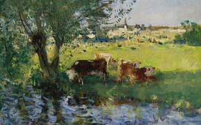 Картинка пейзаж, картина, Пьер Эжен Монтезин, Pierre-Eugene Montezin, Коровы в Тени Ивы