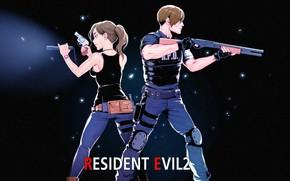 Картинка девушка, оружие, парень, Resident Evil 2, 2019