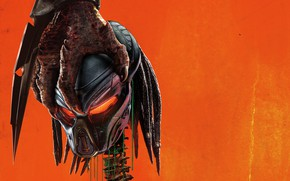 Картинка оранжевый, фон, череп, рука, когти, Хищник, триллер, боевик, постер, ужасы, The Predator