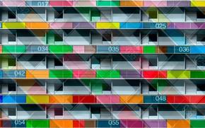 Картинка цвета, город, окна, балконы