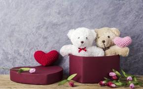 Картинка любовь, цветы, подарок, игрушка, сердце, мишка, тюльпаны, love, розовые, bear, heart, wood, pink, flowers, romantic, …