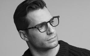 Картинка фото, очки, черно-белое, Henry Cavill, Hugo Boss