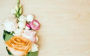 Картинка цветы, розы, букет, pink, flowers, roses, эустома, eustoma