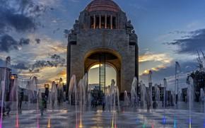 Обои Мексика, фонтан, День Независимости, Мехико, Памятник Революции