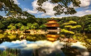 Картинка деревья, озеро, замок, Япония, красиво, Киото