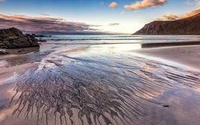 Картинка песок, море, пляж, облака, пейзаж, природа, камни, скалы, узор, берег, побережье, разводы, даль, Норвегия, простор, …