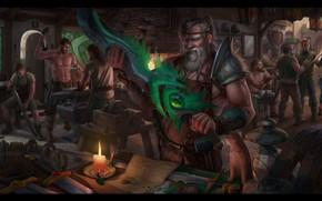 Картинка магия, меч, фэнтези, арт, мастерская, Blacksmith, Eugene Rudakov, кузня