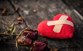 Картинка любовь, сердце, розы, red, love, heart, wood, разбитое, пластырь, romantic, broken, roses