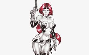Картинка Девушка, Пистолет, Оружие