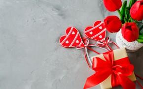 Картинка праздник, подарок, сердечки, тюльпаны