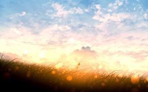 Картинка небо, закат, девочка