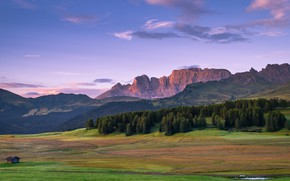 Картинка house, grass, forest, sky, trees, field, landscape, Italy, nature, sunset, mountains, clouds, Alps, South Tyrol, …