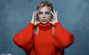 Картинка портрет, взгляд, руки, фон, Lovagi Milán, лицо, девушка, свитер