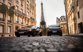 Картинка Франция, Париж, BMW, пара, Эйфелева башня, Coupe, BMW i3, BMW i8, 2019, Ultimate Sophisto Edition, …