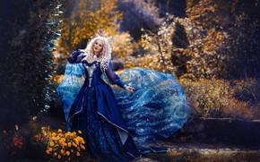Картинка взгляд, девушка, свет, природа, поза, фото, сад, платье, блондинка, Melanie Dietze