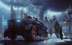 Картинка Ночь, Город, Машина, Полиция, Тучи, Небоскребы, City, Punk, Clouds, Police, Night, Фантастика, Machine, Панк, sci-fi, …