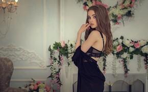 Картинка girl, bra, long hair, dress, brown hair, photo, photographer, blue eyes, flowers, model, bokeh, face, …