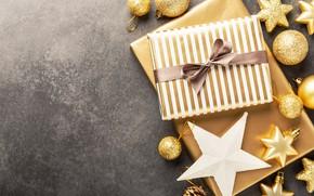 Картинка украшения, золото, шары, Новый Год, Рождество, подарки, golden, Christmas, balls, background, New Year, decoration, gift …