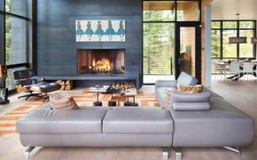 Картинка интерьер, камин, гостиная, столовая, Elk Residence