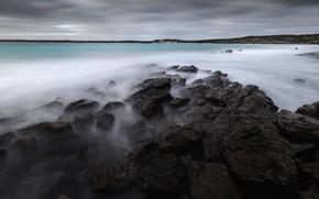 Картинка море, камни, берег, Исландия, каменистый