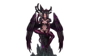 Картинка Girl, Fantasy, Art, Devil, Style, Skull, Background, Minimalism, Succubus, Wings, Horns, Figure, Character, Kim Sunhong