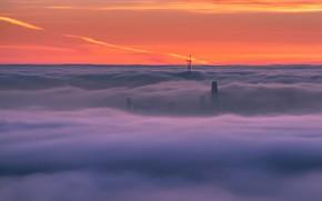 Картинка небо, закат, город, туман