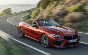 Картинка дорога, скорость, поворот, BMW, кабриолет, 2019, BMW M8, M8, F91, M8 Competition Convertible, M8 Convertible