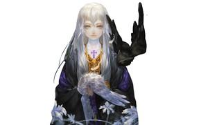 Картинка девушка, крест, совы, филин, by miinjae, gotic character