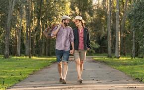 Картинка лето, парк, пара, прогулка, двое
