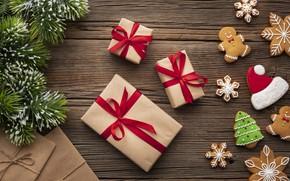Картинка печенье, Рождество, лента, подарки, Новый год, ёлка, Happy New Year, Christmas, New Year, gift, Happy …