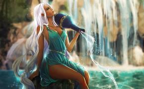 Картинка Вода, Девушка, Рисунок, Girl, Волосы, Платье, Арт, Beautiful, Красотка, Water, Красивая, Aquarius, Dress, Кувшин, Pretty …