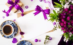 Картинка цветы, подарок, кофе, лента, конверт
