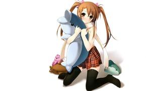 Картинка дельфин, на коленях, черные чулки, два хвостика, мягкие игрушки, рыжая девочка, by kantoku, юбка в …