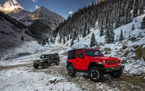 Обои снег, горы, красный, 2018, Jeep, тёмно-серый, Wrangler Rubicon, Wrangler Sahara