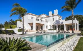 Картинка пальмы, вилла, бассейн, Португалия, архитектура, терраса, Villa Lírio, Quinta do Lago
