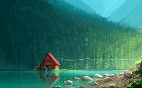 Картинка Вода, Отражение, Горы, Озеро, Река, Гора, Лес, Дом, Домик, Елки, Арт