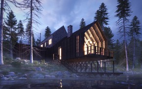 Картинка лес, берег, строение, водоём, SCAN HOUSE