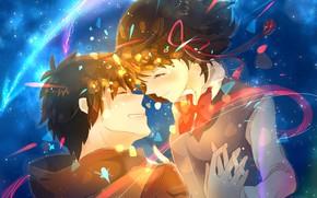 Картинка девушка, романтика, аниме, арт, комета, парень, двое, бантик, Kimi no Na wa, Твоё имя