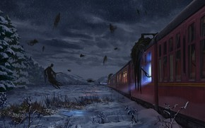 Картинка Fantasy, Art, Hogwarts Express, Harry Potter, Concept Art, Dementors, Dementor, The Dementors, Josh Hutchinson, by …