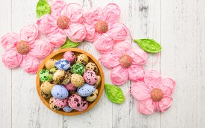 Картинка цветы, яйца, Пасха, happy, flowers, eggs, easter, decoration
