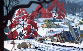 Картинка зима, люди, вигвамы