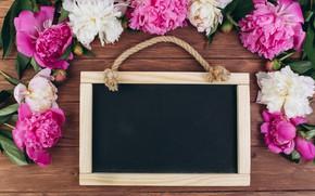 Картинка цветы, рамка, розовые, white, белые, wood, pink, flowers, пионы, peonies