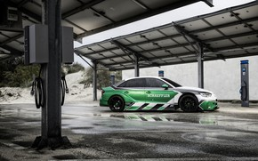 Обои Audi A3, Schaeffler, электрический суперкар, 1200 л.с., 4 e-Performance, зарядная станция
