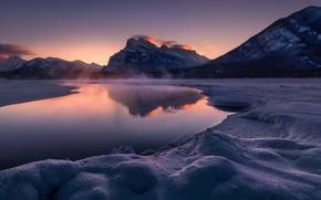 Картинка закат, горы, озеро