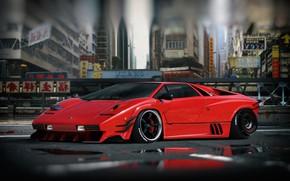 Картинка Красный, Авто, Город, Lamborghini, Машина, Стиль, Азия, Суперкар, Countach, Lamborghini Countach, Спорткар, Vehicles, Ghost in …