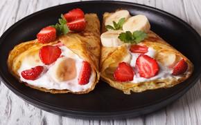 Картинка ягоды, клубника, банан, wood, strawberry, dessert, сметана, pancake