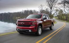 Картинка красный, Chevrolet, пикап, водоём, Silverado, 2019, RST