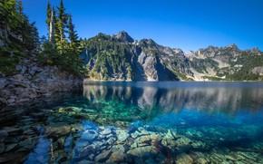 Картинка горы, озеро, камни, дно, штат Вашингтон, Каскадные горы, Washington State, Cascade Range, Snow Lake, Снежное …
