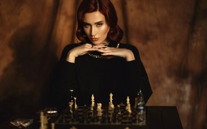 Картинка взгляд, девушка, фото, макияж, шахматы, Алина Мур